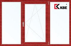Окно ПВХ Окно ПВХ KBE 2060*1420 2К-СП, 5К-П, Г+П/О+Г ламинированное (вишня)