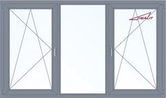 Алюминиевое окно Realit 2700*1600 ПО+Г+ПО