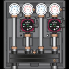 Комплектующие для систем водоснабжения и отопления Meibes Насосно-смесительный модуль Kombimix UK/UK c насосом Grundfos UPM3 Hybrid 15-70 PWM (арт. 26103 3)