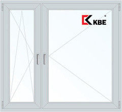Окно ПВХ KBE 1460*1400 2К-СП, 3К-П, П/О+П