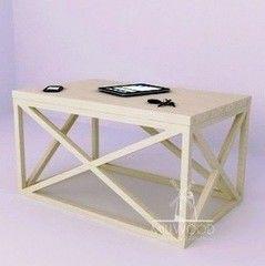 Журнальный столик MillWood Neo Loft СТ-2 (дуб беленый, белый металл)