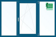 Окно ПВХ Окно ПВХ Salamander 2060*1420 2К-СП, 5К-П, Г+П/О+Г ламинированное (темно-синий)