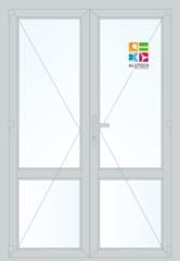 Алюминиевая дверь Alutech ALT C48 1400x2100 2К-СП, 1К-П Двухстворчатая с импостом