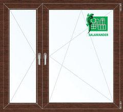 Окно ПВХ Окно ПВХ Salamander 1460*1400 2К-СП, 5К-П, П+П/О ламинированное (темное дерево)