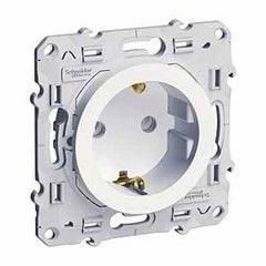 Schneider Electric Odace Розетка со шторками с заземл. винт.зажим белая (S52R037)
