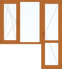 Деревянное окно Дуб 1860*2160, 1с, П/О+Г+П