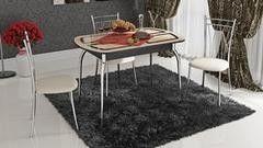 Обеденный стол Обеденный стол ТриЯ Милан раздвижной со стеклом с рисунком