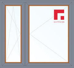 Дерево-алюминиевое окно Gutmann Дуб 1460*1400, в/с, П/О+П
