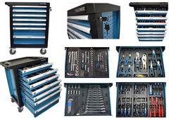 Partner Partner Тележка инструментальная 7-и полочная(синяя) укомплектованная инструментом 220пр с пластиковой защитой корпуса+2 боковые перфорации PA-1141217B