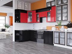 Кухня Кухня Артем-мебель Виола черный глянец/красный глянец
