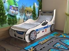 Детская кровать Детская кровать СлавМебель Полицейская машина с двумя ящиками 1600/1900
