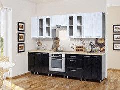 Кухня Кухня Интерлиния Metrio Д2.4 ПВХ (белый страйп/черный страйп)