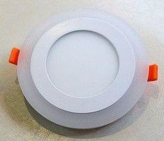 Встраиваемый светильник TruEnergy ультратонкий с декоративной подсветкой круглый, 6+3W, синий, розовый