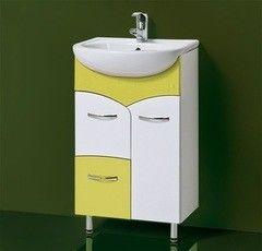Зеленая мебель для ванной Акваль Тумба под умывальник Виктория 50 R оливковый