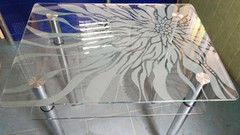 Обеденный стол Обеденный стол Valtera из каленного стекла 8мм с пескоструйным художественным рисунком