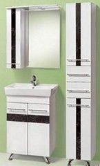 Мебель для ванной комнаты Акваль Комплект Токио 60 (тумба, умывальник, зеркало Токио, шкаф) черн.