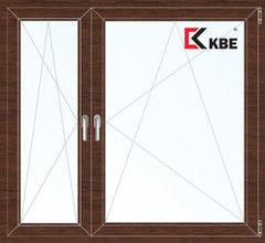 Окно ПВХ KBE 1460*1400 2К-СП, 5К-П, П/О+П/О ламинированное (темное дерево)