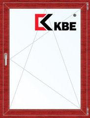 Окно ПВХ Окно ПВХ KBE Окно ПВХ 800*1100 2К-СП, 5К-П, П/О ламинированное (вишня)