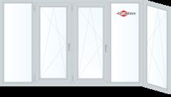 Балконная рама Балконная рама Brusbox 3650*1450 2К-СП, 6К-П, Г+П/О+П/О+Г+П/О (Г-образная)
