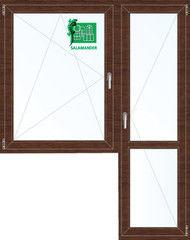 Окно ПВХ Окно ПВХ Salamander Окно ПВХ 1440*2160 2К-СП, 5К-П, П/О+П ламинированное (темное дерево)