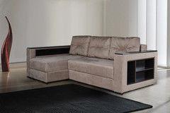 Диван Диван DM-мебель Бристоль угловой (бежевый с полками в подлокотниках)