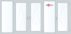 Балконная рама Балконная рама Brusbox 3650*1450 2К-СП, 6К-П, Г+П/О+П/О+Г+П/О