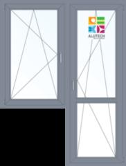 Алюминиевое окно Alutech C48 1440*2160 1К-СП П/О+П/О