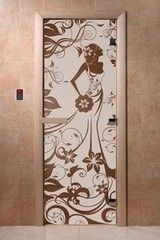 Дверь для бани и сауны Дверь для бани и сауны Doorwood Девушка в цветах