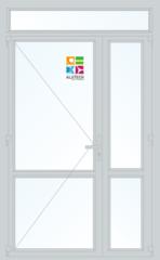 Алюминиевая дверь Alutech ALT C48 1300x2400 2К-СП, 1К-П Одностворчатая с импостом и доп окнами