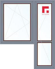 Дерево-алюминиевое окно Gutmann Меранти 1440*2160, в/с, П/О+П