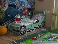 Детская кровать Детская кровать СлавМебель Машинка 160 см (зеленый)
