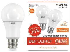 Лампа Лампа Gauss 23211P, E27, A60, 11Вт