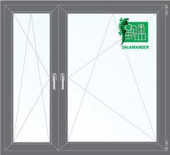 Окно ПВХ Окно ПВХ Salamander Пластиковое окно ПВХ 1460*1400 2К-СП, 5К-П, П/О+П/О ламинированное (серый)