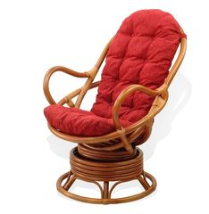 Кресло из ротанга Мир ротанга 05/01 вращающееся с цветной подушкой
