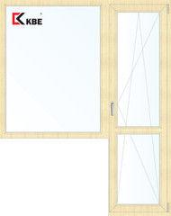 Окно ПВХ KBE 1860*2160 2К-СП, 5К-П, Г+П/О ламинированное (светлое дерево)