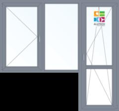 Алюминиевое окно Alutech W62 1860*2160 2К-СП П+Г+П/О