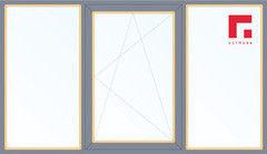 Дерево-алюминиевое окно Gutmann Сосна 2060*1420, 1с, Г+П/О+Г