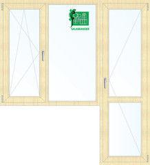 Окно ПВХ Окно ПВХ Salamander 1860*2160 2К-СП, 5К-П, П/О+Г+П ламинированное (светлое дерево)
