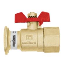 """Комплектующие для систем водоснабжения и отопления Meibes Запорный шаровый кран с обратным клапаном DN25 (G1"""" ВР x плоский фланец) под гайку 1 1/2"""" (61851)"""