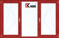 Окно ПВХ Окно ПВХ KBE 2060*1420 2К-СП, 5К-П, П/О+Г+П/О ламинированное (вишня)