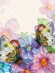 Фотообои Фотообои GreenBerry Бабочки акварель 027