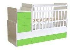 Детская кровать Кроватка Фея 1100 Белый-Лайм