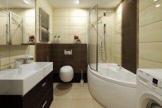 Посчитали стоимость обустройства ванной в бежевых тонах, 4,6 кв.м.