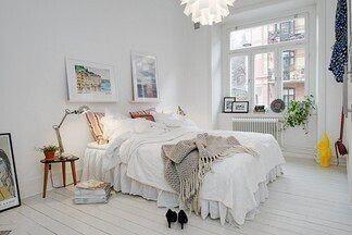 Белый цвет в интерьер спальной комнаты с примерами для вдохновения