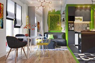Иллюзия «сломанного» пространства. Дизайн-проект для молодой пары, которая любит яркие цвета